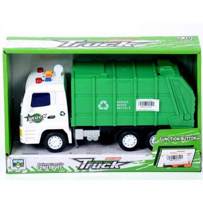 Zöld szemétszállító teherautó fénnyel