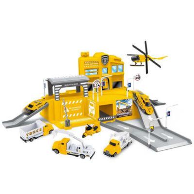 Parkolóház sárga teherautókkal