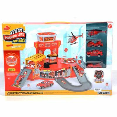 Parkolóház piros színben, tűzoltójárművekkel és kiegészítőkkel