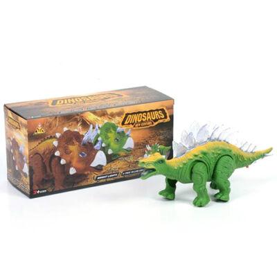 Sztegoszaurusz zöld színű dinoszaurusz figura fény effektekkel