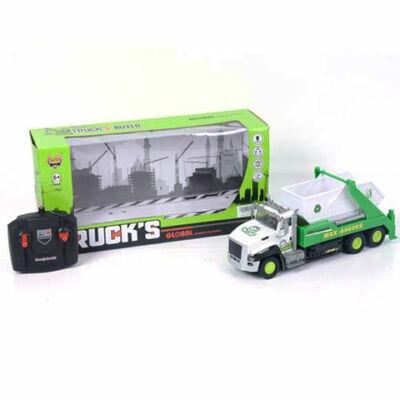 RC távirányítós konténer szállító autó zöld színben fénnyel