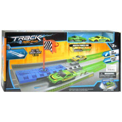 Track Racing versenypálya célzászlóval és két autóval