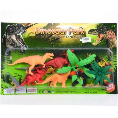 Dinoszaurusz figurák növényekkel