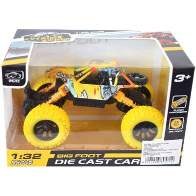 Off-Road hátrahúzós sárga rally autó 1/32