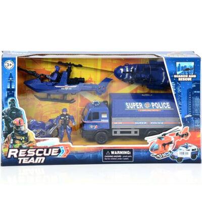Rescue Team rendőrségi játék szett motorral