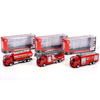 Tűzoltósági teherautók fénnyel, háromféle változatban