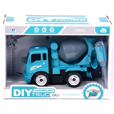 Kék szerelhtő betonkeverő kocsi