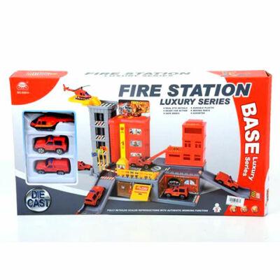 Tűzoltósági parancsnokság parkolóházzal, járművekkel