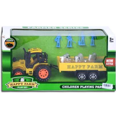 Happy Farm Traktor pótkocsival és állatokkal