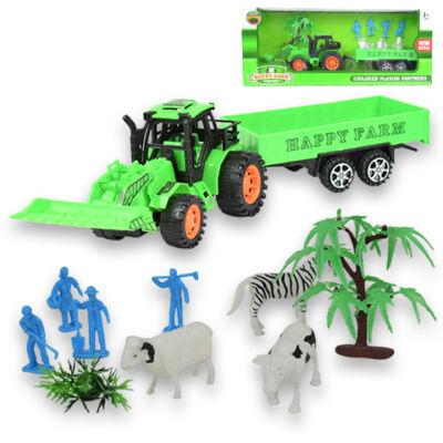 Happy Farm Traktor pótkocsival és kiegészítőkkel