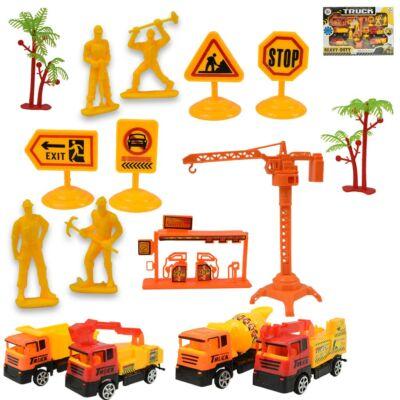 Építőipari játékszett járművekkel, figurákkal és táblákkal