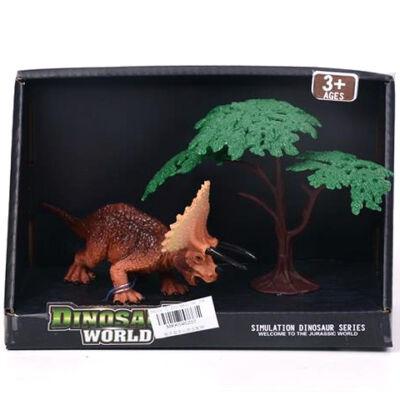 Triceratops dinoszaurusz figura fával 15 cm