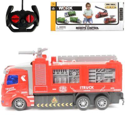 RC távirányítós tűzoltóautó piros színben 27MHz